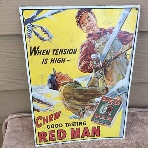 Chew Red Man Tobacco Sign